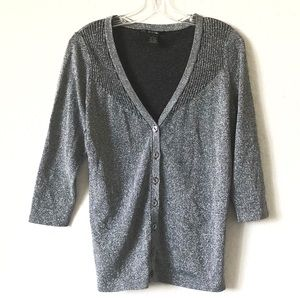 89th & Madison Silver Metallic Cardigan!